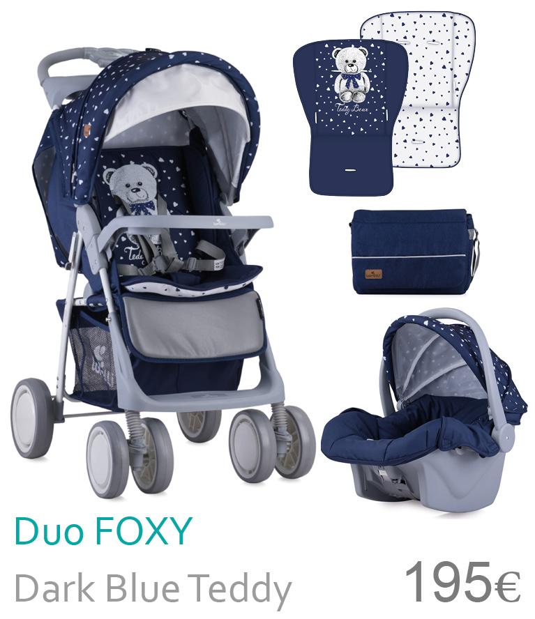 carrinho duo Foxy dark blue teddy