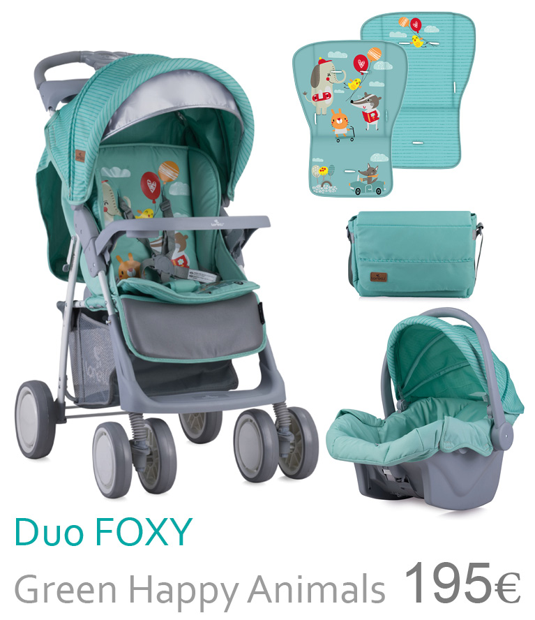 Carrinho duo FOXY Green Happy Animals