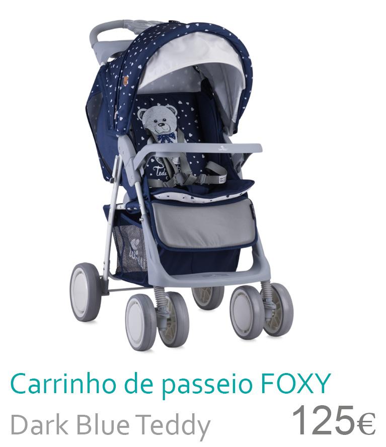 carrinho de passeio Foxy Dark blue teddy