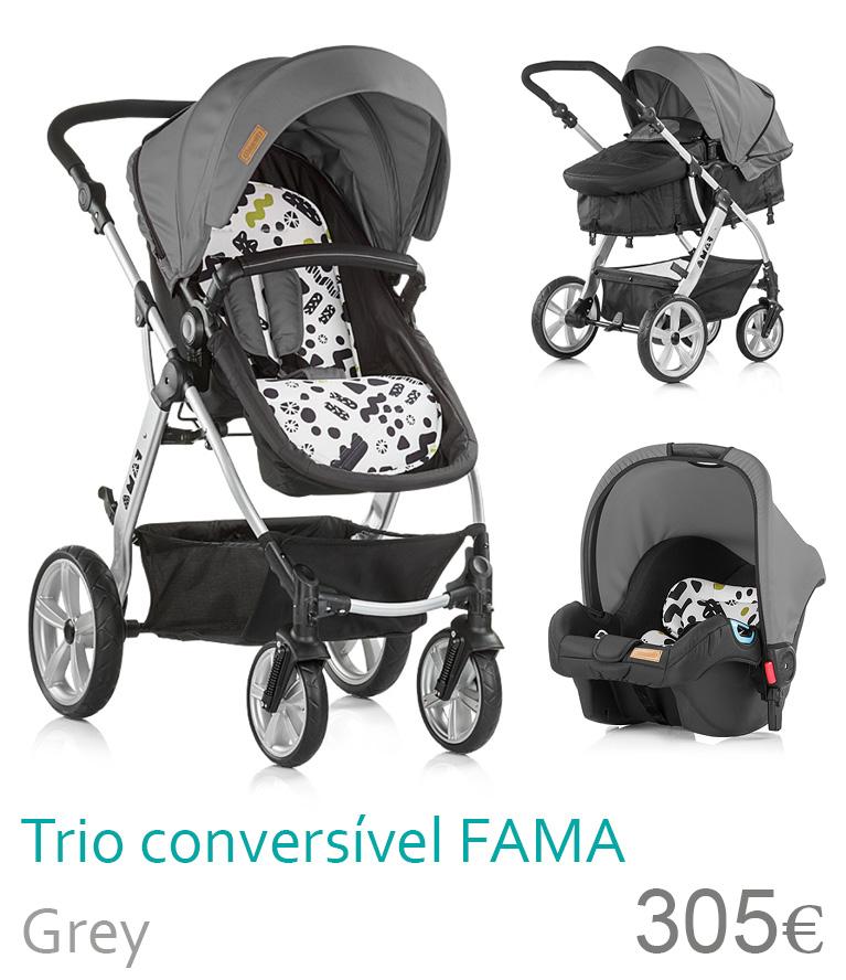 carrinho trio conversível fama grey