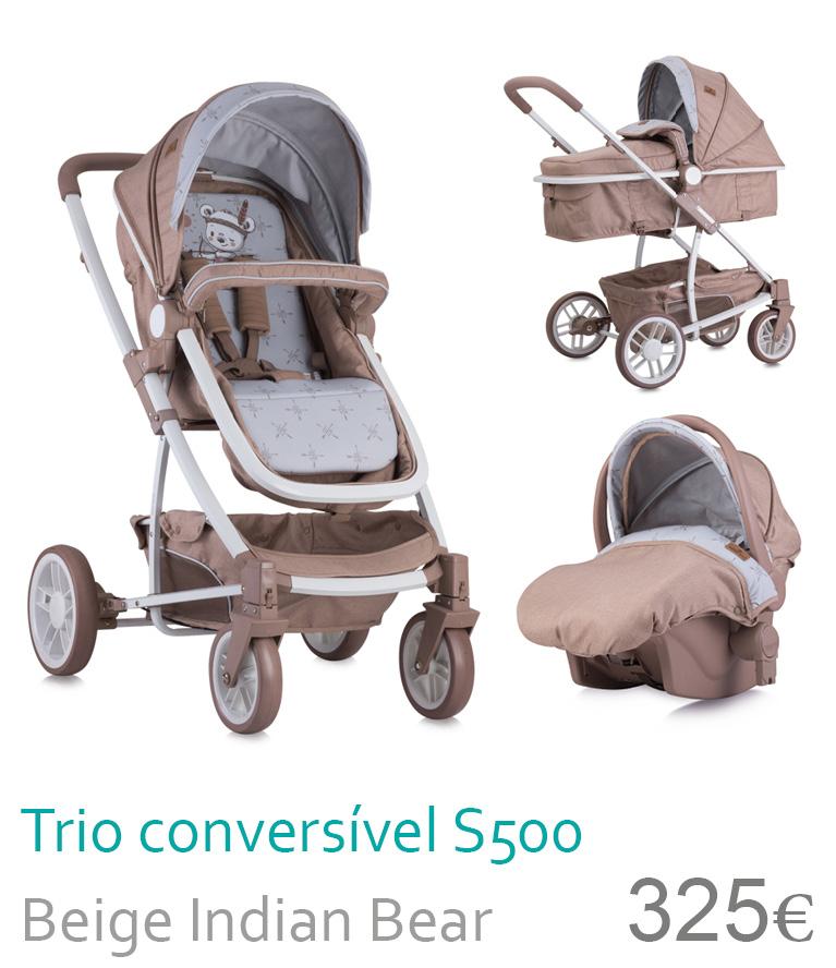 Carrinho Trio Conversível S500 Beige Indian Bear