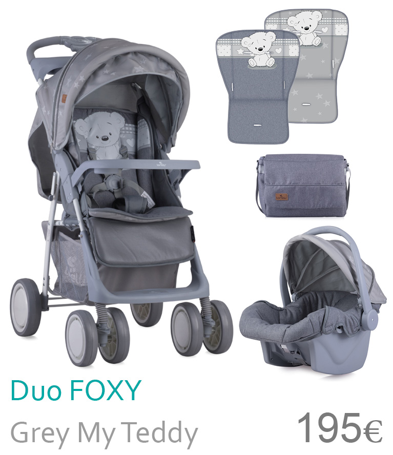 carrinho duo Foxy Grey my teddy
