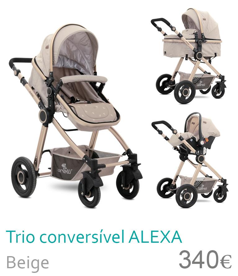 Carrinho trio conversível ALEXA Beige