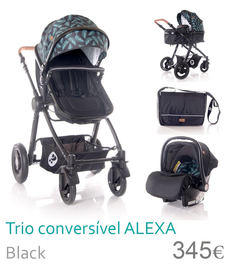 Carrinho trio convervível ALEXA Black