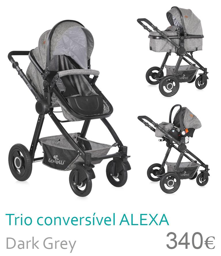 Carrinho trio conversível ALEXA Dark Grey