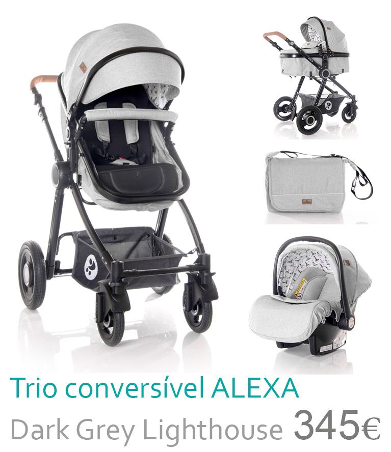 Carrinho trio conversível ALEXA Dark Grey Lighthouse
