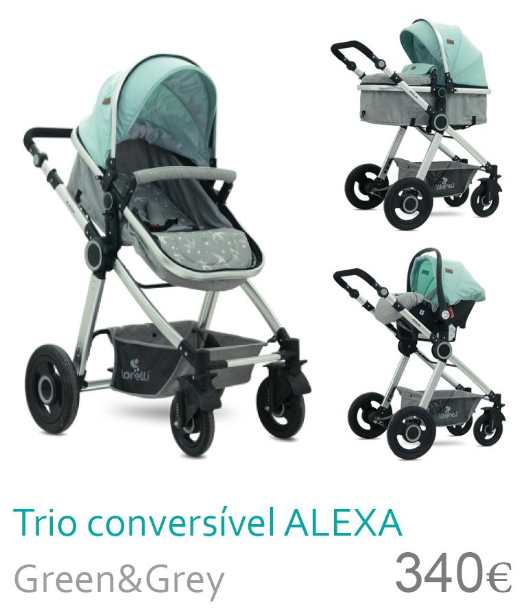 Carrinho trio conversível ALEXA Green&Grey