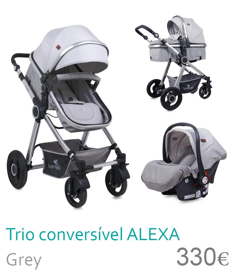 Carrinho trio conversível Alexa grey
