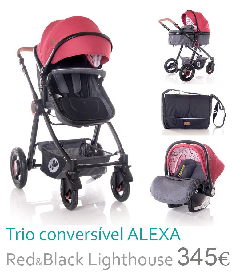 Carrinho trio conversível ALEXA Red&Black Lighthouse