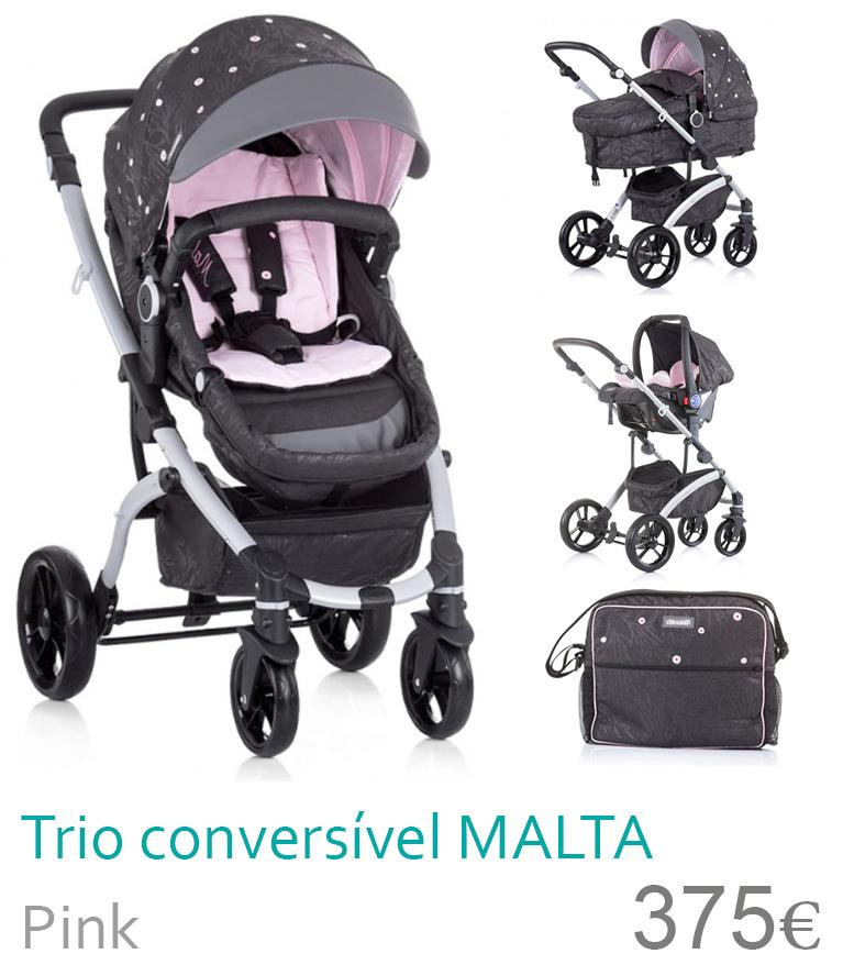Carrinho trio conversível MALTA Pink