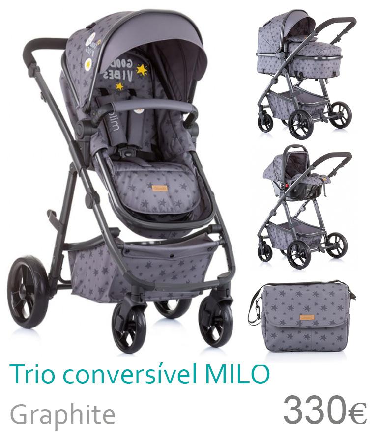 Carrinho trio conversível MILO Graphite