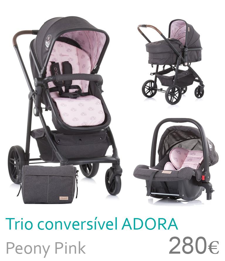Carrinho trio ocnversível ADORA Peony Pink