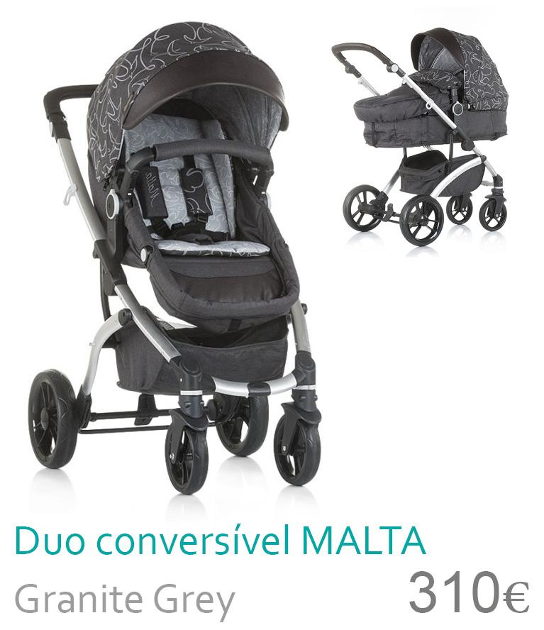Carrrinho bebé Duo Conversível MALTA Granite Grey