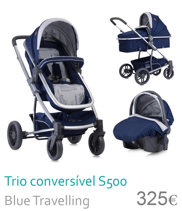 Carrinho trio conversível S500 Blue Travelling